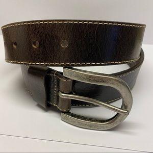 DANIEL CREMIEUX Dark Brown Leather Belt